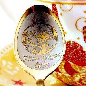 Чайная ложка с гравировкой «Новогодние игрушки / Снежинка»