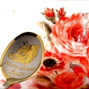 Чайная ложка с гравировкой «Кабан»
