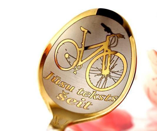Чайная ложка с гравировкой «Велосипедист»