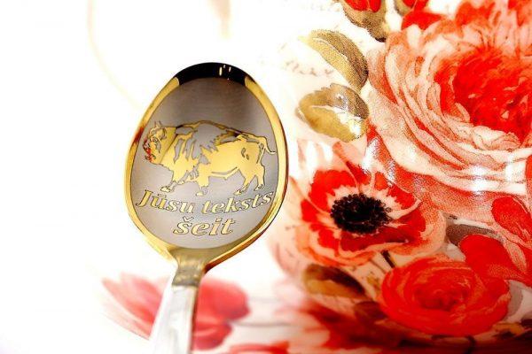 Чайная ложка с гравировкой «Зубр»