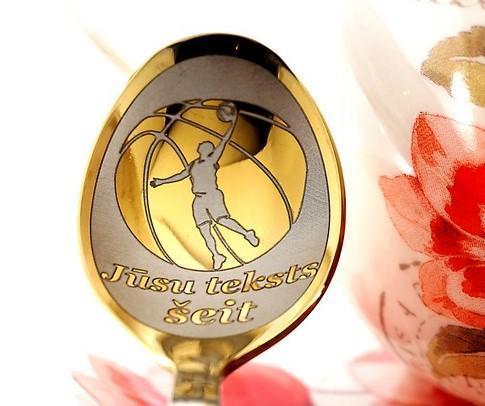 Чайная ложка с гравировкой «Баскетбол»