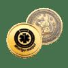 dāvanu monēta ar iegravētu peli vienā pusē un ar uzrakstu Mierīgu maiņu otrā pusē
