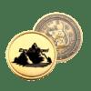 dāvanu monēta ar iegravētu peli vienā pusē un ar kalniem otrā pusē