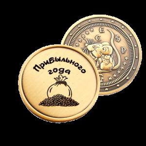 dāvanu monēta ar iegravētu peli vienā pusē un ar naudas maisu otrā pusē