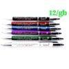 12 gabali melna, sarkana, zila, violeta, zaļa un balta personalizētas pildspalvas