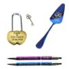"""Komplekts """"Kāzu slēdzene, Tortes lāpstiņa, Pildspalvas"""""""