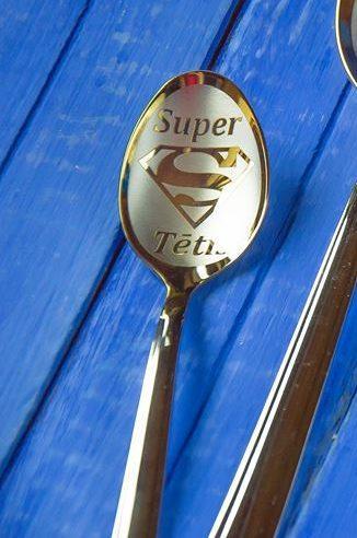 """Чайная ложка с гравировкой """"Super Tētis"""""""