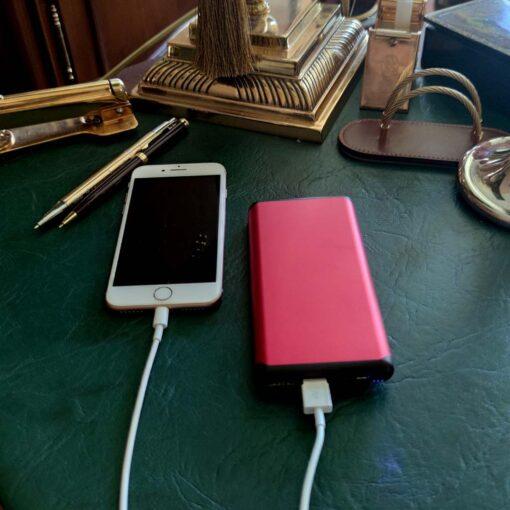 Wireless power bank 10000 mAh Red с гравировкой