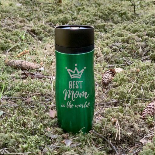 Термокружка Air Gifts 350 мл Green с гравировкой