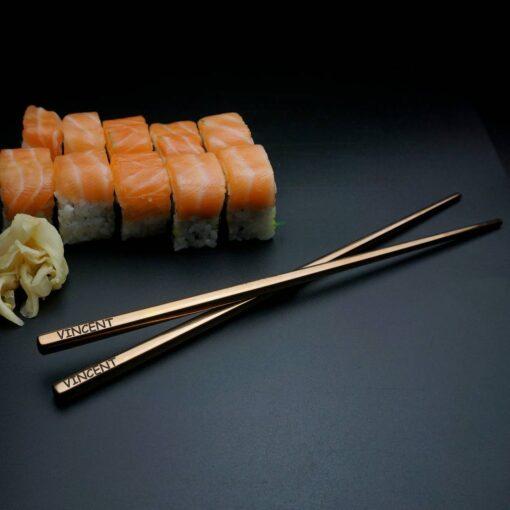 Суши палочки с гравировкой Rose Gold