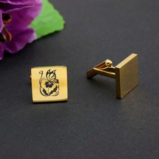"Aproču pogas ""SQ Gold"" ar gravējumu"